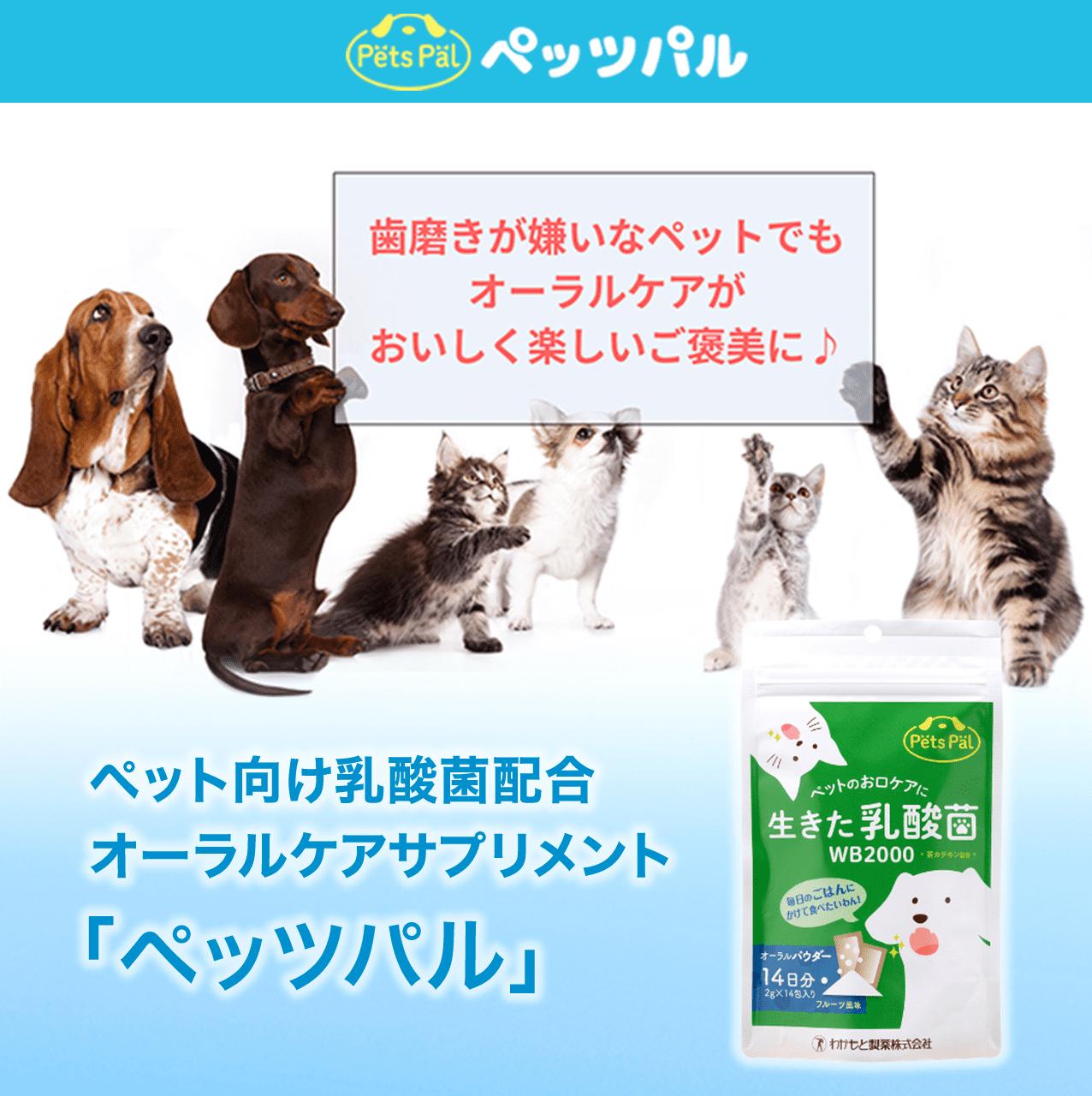 ペット向け乳酸菌配合 オーラルケアサプリメント「ペッツパル」