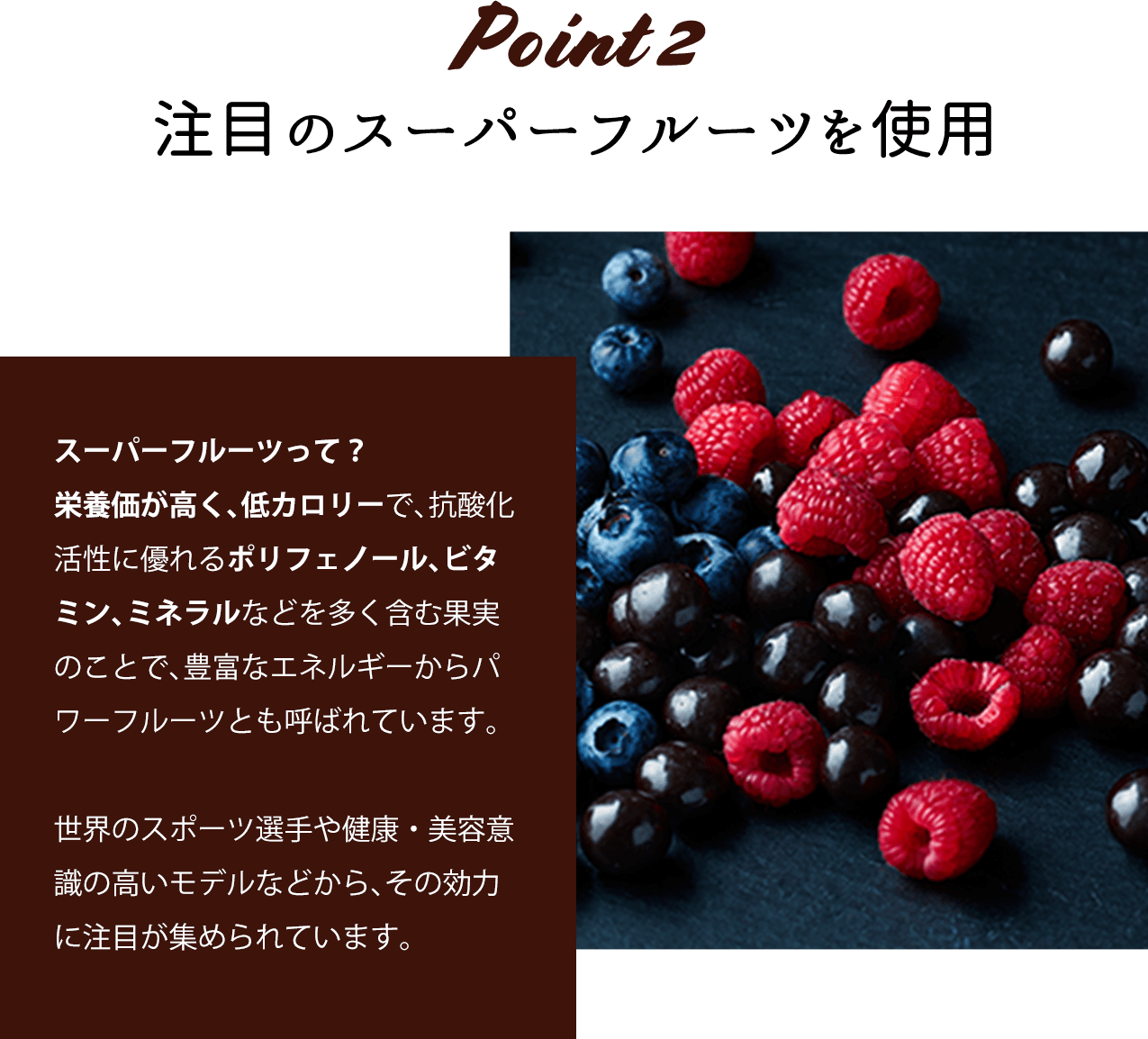 Point_2 注目のスーパーフルーツを使用