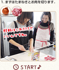 1.まずはたまねぎとお肉を切ります。