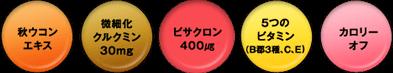 秋ウコンエキス 微細化クルクミン30mg ビサクロン400μg 5つのビタミン カロリーオフ