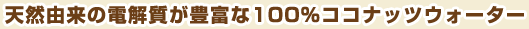 天然由来の電解質が豊富な100%ココナッツウォーター