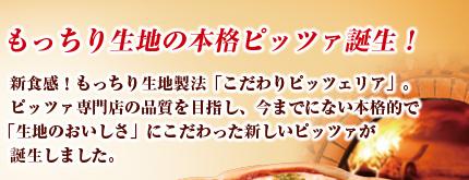 もっちり生地の本格ピッツァ誕生! 新食感!もっちり生地製法「こだわりピッツェリア」。ピッツァ専門店の品質を目指し、今までにない本格的で「生地のおいしさ」にこだわった新しいピッツァが誕生しました。