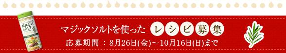 マジックソルトを使ったレシピ募集 応募期間:8月26日(金)〜10月16日(日)まで