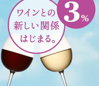 ぶどうが香る アルコール分 3% ワインとの新しい関係はじまる。