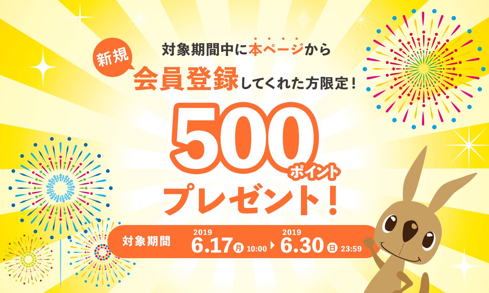対象期間中に本ページから新規会員登録してくれた方限定!500ポイントプレゼント!