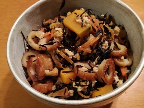 がっつり系アレンジのひじきの煮物