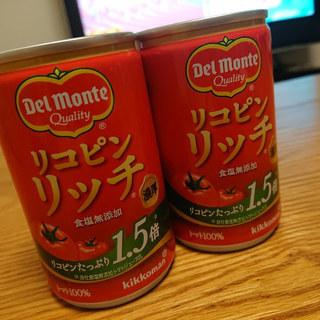 キッコーマン飲料「デルモンテ リコピンリッチ トマト飲料 160g缶」毎日おいしく飲んでしまいました!リッチなトマトジュースは濃厚なのでパスタソースにもピッタリ。