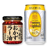 S&Bぶっかけ!おかずラー油×1個/サントリー 角ハイボール缶 350ml×2本