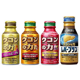 ウコンの力 パイン&ピーチ味/ウコンエキスドリンク/カシスオレンジ味/レバープラス 4種8本セット