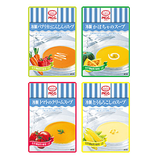 冷製スープ(パプリカとにんじん/かぼちゃ/トマト/とうもろこし) 4種8点